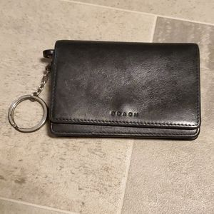 Black Coach Vintage Small Keychain Wallet
